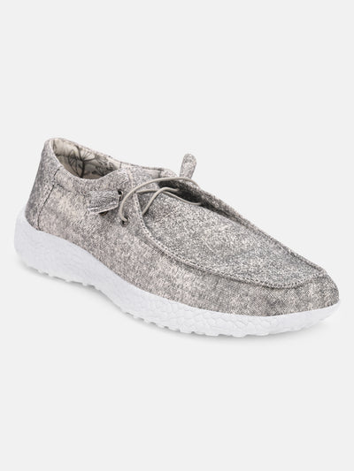 Women Grey Casual Canvas Slip-On Sneakers Shoes - JUMP USA
