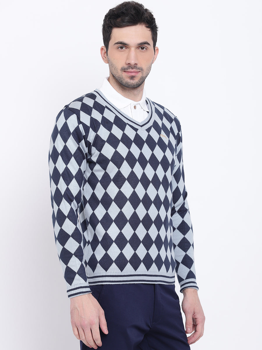 Men Casual Colourblocked Blue Sweaters - JUMP USA
