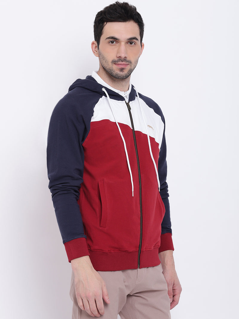 Men Casual Colourblocked Red Sweatshirt - JUMP USA