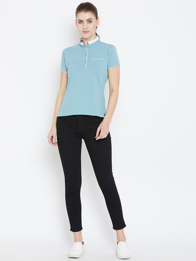 Women Blue Solid Casual Polo T-shirts - JUMP USA