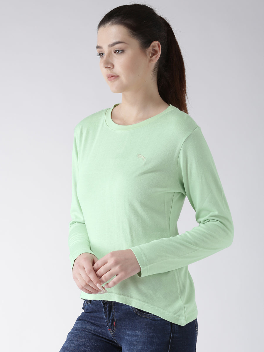 Women Teal Solid Round Neck T-shirt