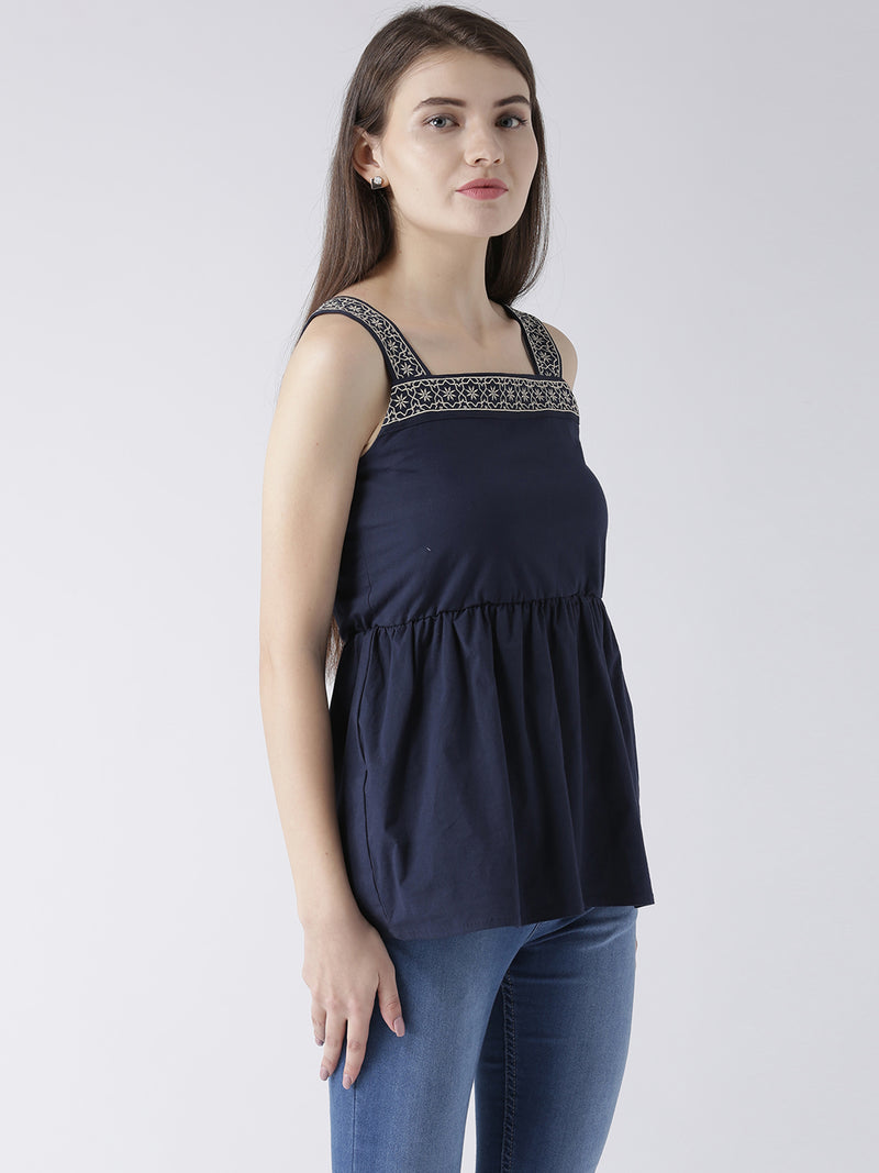 Women Navy Blue Casual Tops