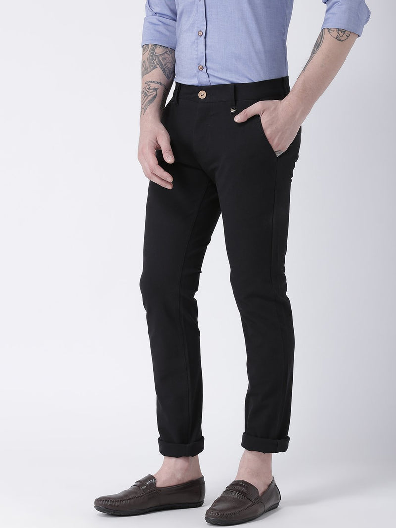 Men Black Slim Fit Solid Chinos