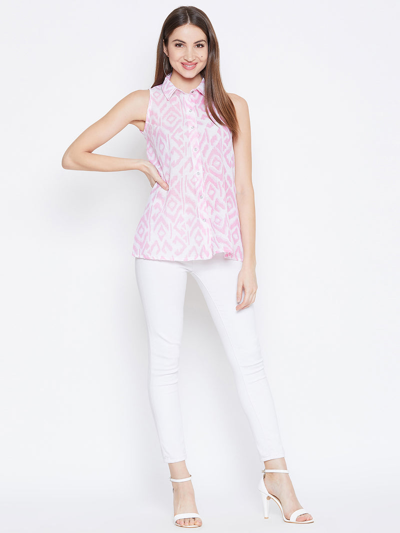 JUMP USA Women White & Pink Printed Casual Shirts