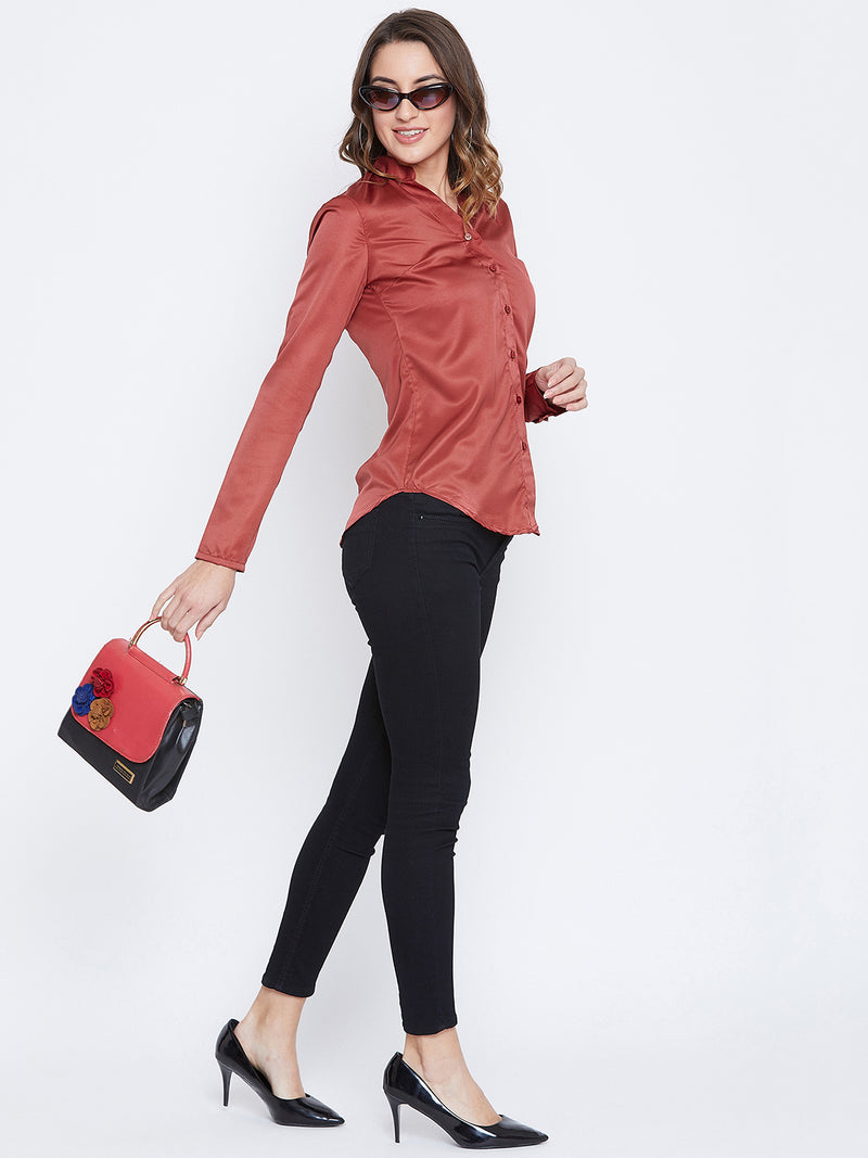 JUMP USA Women Red Solid Casual Shirts - JUMP USA