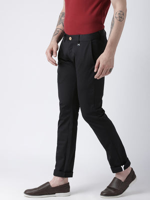 JUMP USA Men Black Slim Fit Solid Chinos - Jump USA