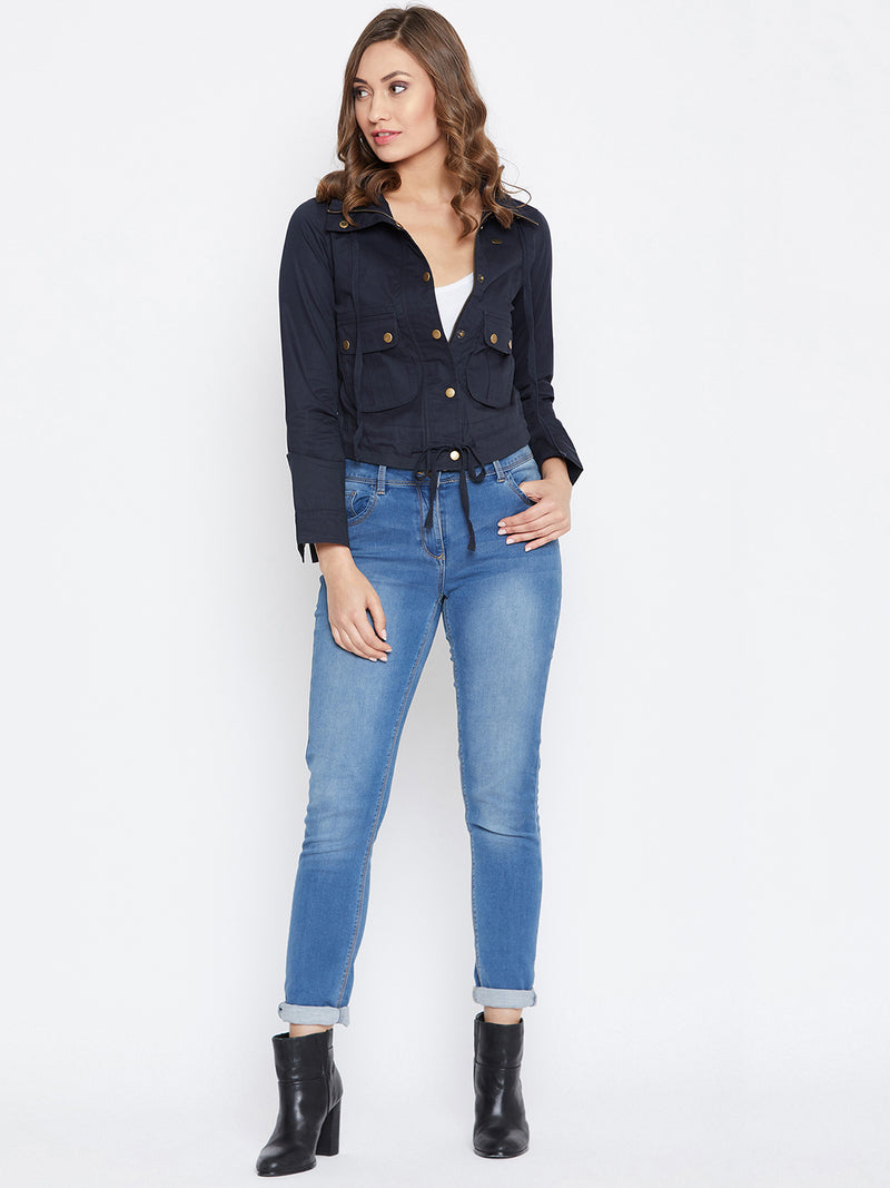 JUMP USA Women Navy Blue Casual Tailored Jacket - JUMP USA
