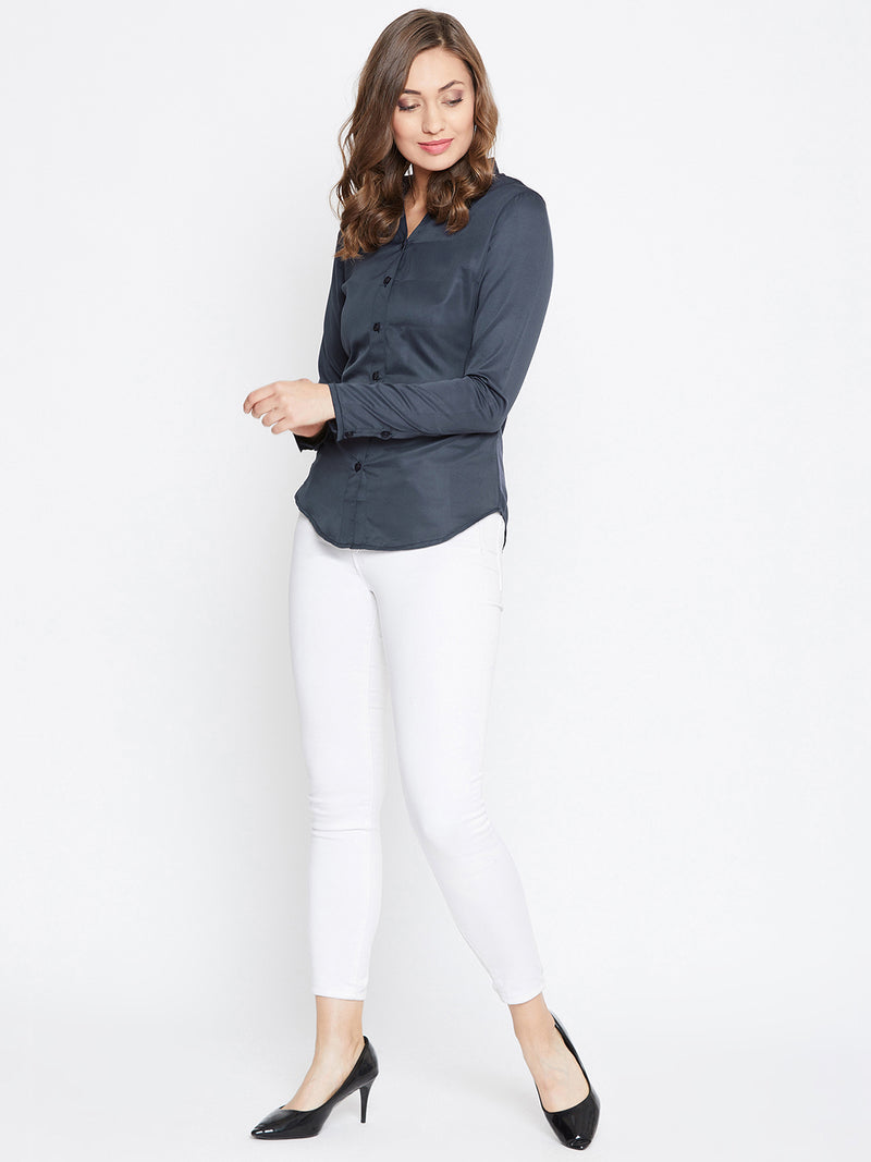 JUMP USA Women Navy Blue Solid Casual Shirts