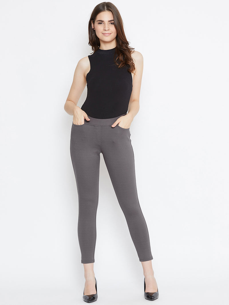 JUMP USA Women Grey Solid Casual Skinny fit Trousers