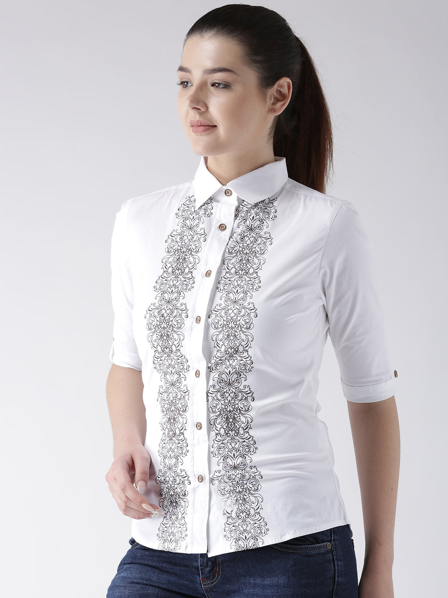 Women White Regular Fit Printed Casual Shirt