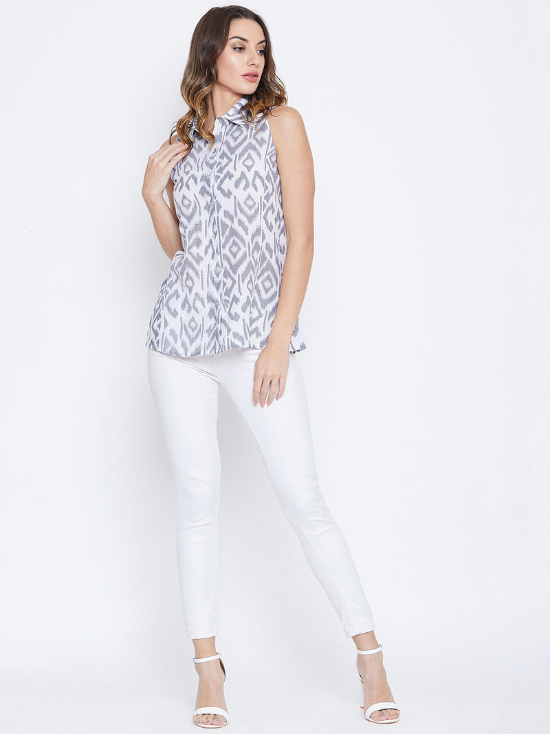 JUMP USA Women White & Grey Printed Casual Shirts - JUMP USA