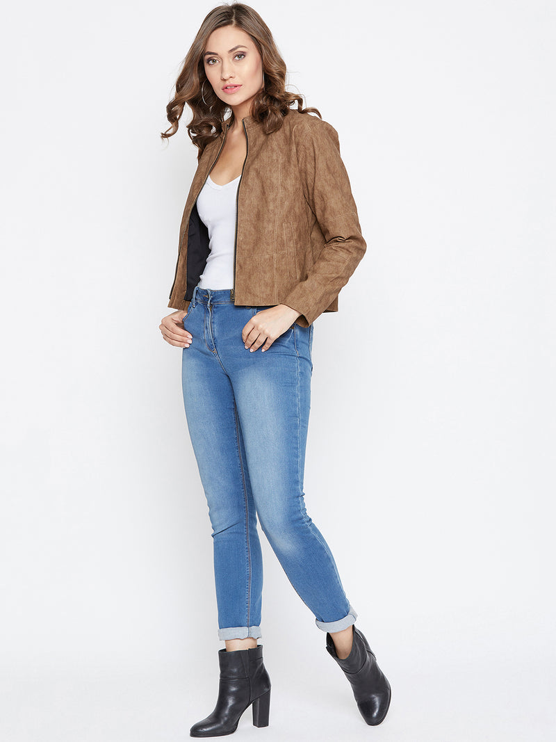 JUMP USA Women Tan Solid Casual Leather Jacket - JUMP USA