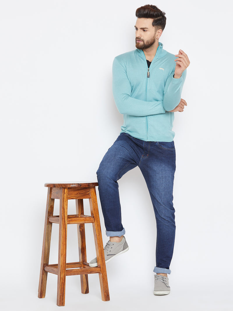 Men Blue Casual Solid Sweater