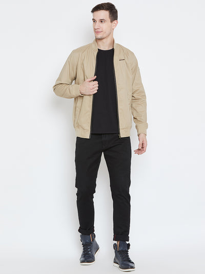 Men Casual Beige Bomber Jacket - JUMP USA