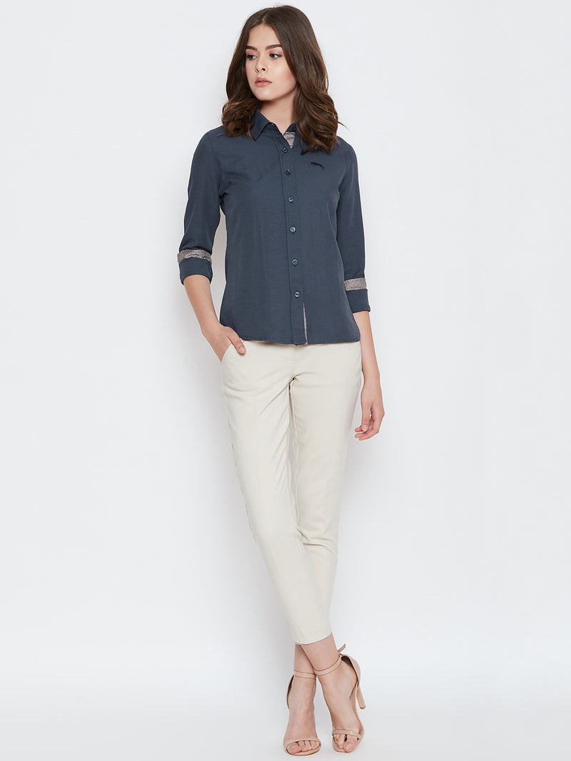 Women Navy Blue Solid Casual Slim Fit Shirt - JUMP USA