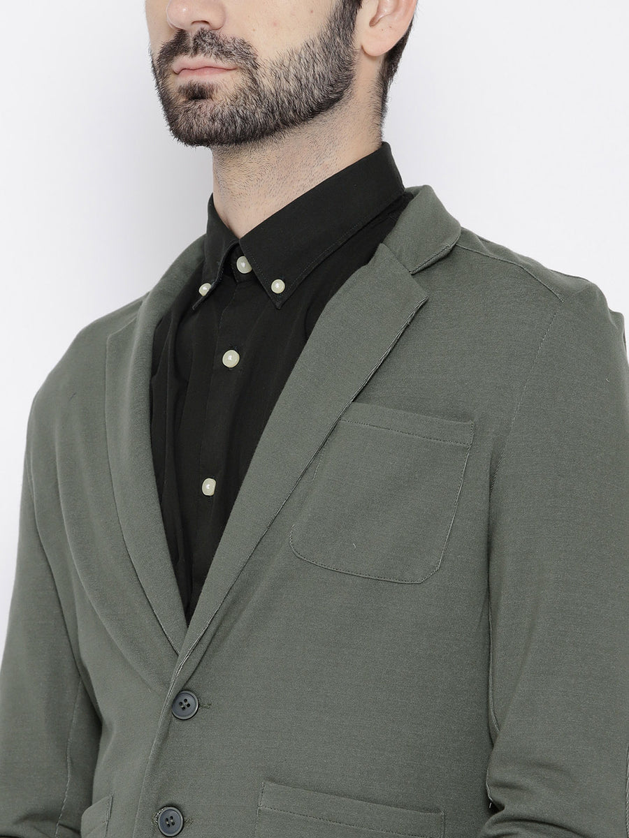 Grey Regular Fit Single-Breasted Casual Blazer