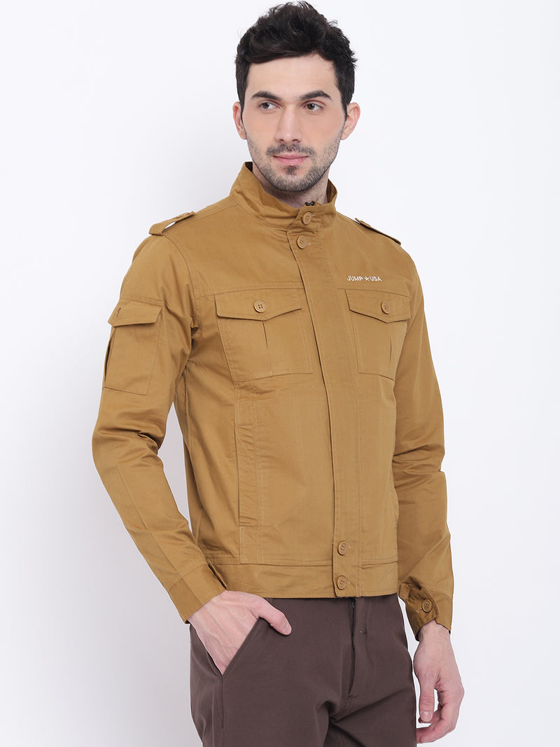 Men Casual Solid Beige Tailored Jacket