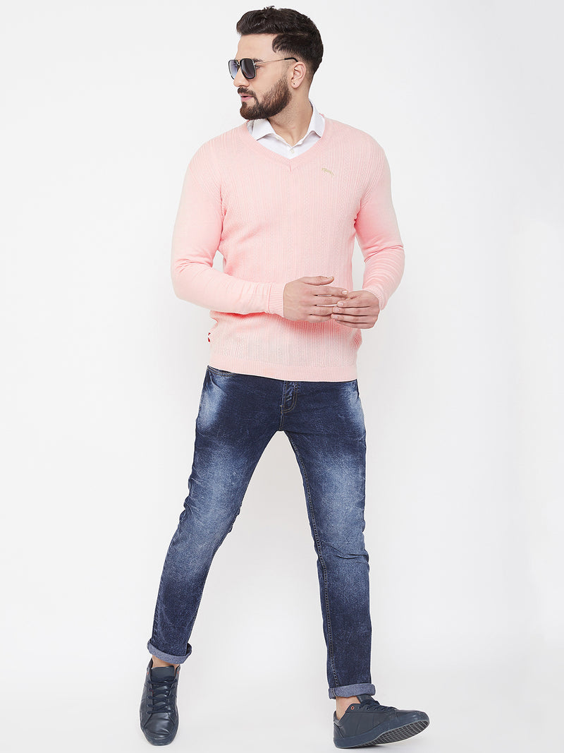 JUMP USA Men Pink Self Design Sweater