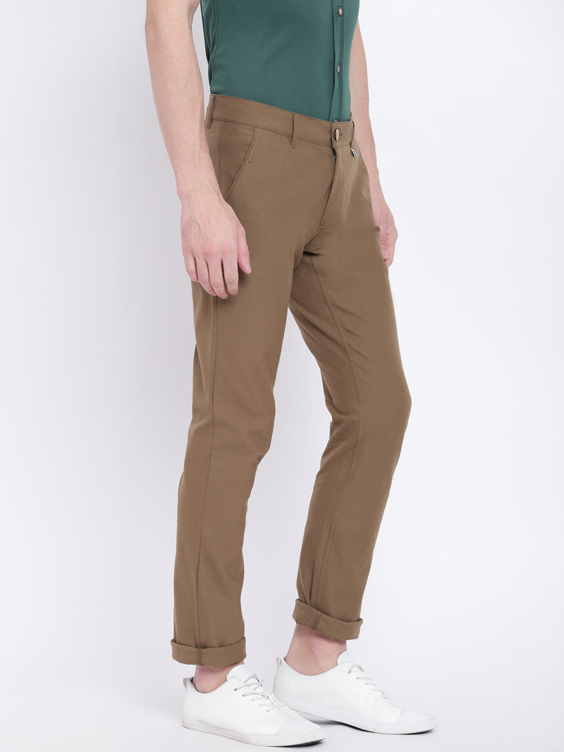 Men Casual Solid Olive Chinos