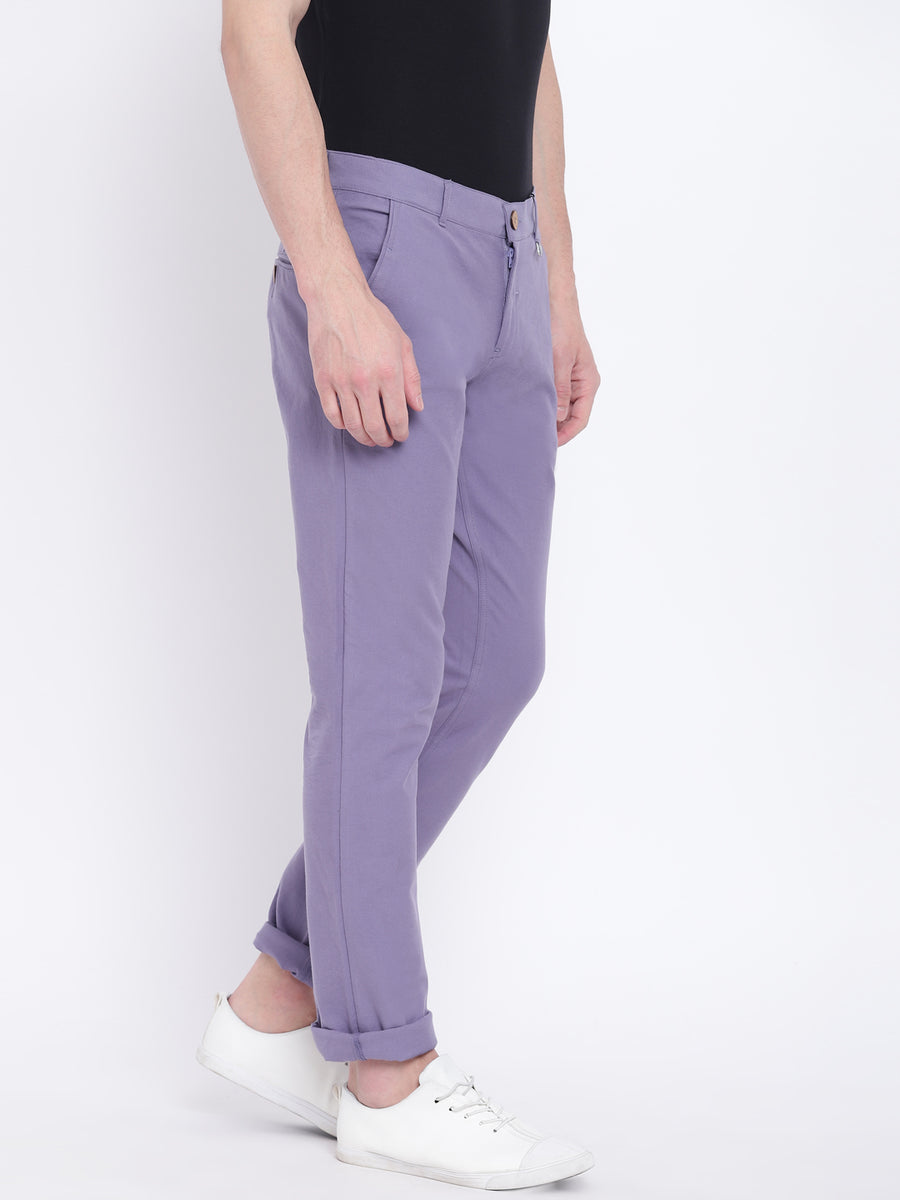Men Casual Solid Purple Chinos