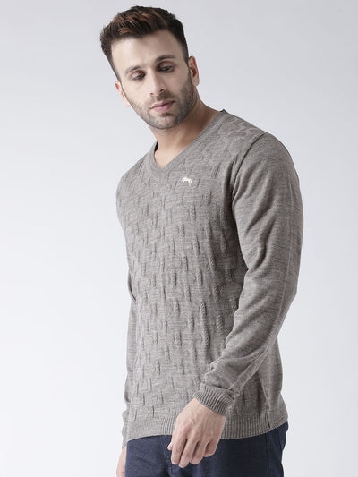 Men Beige self Design Pullover - JUMP USA