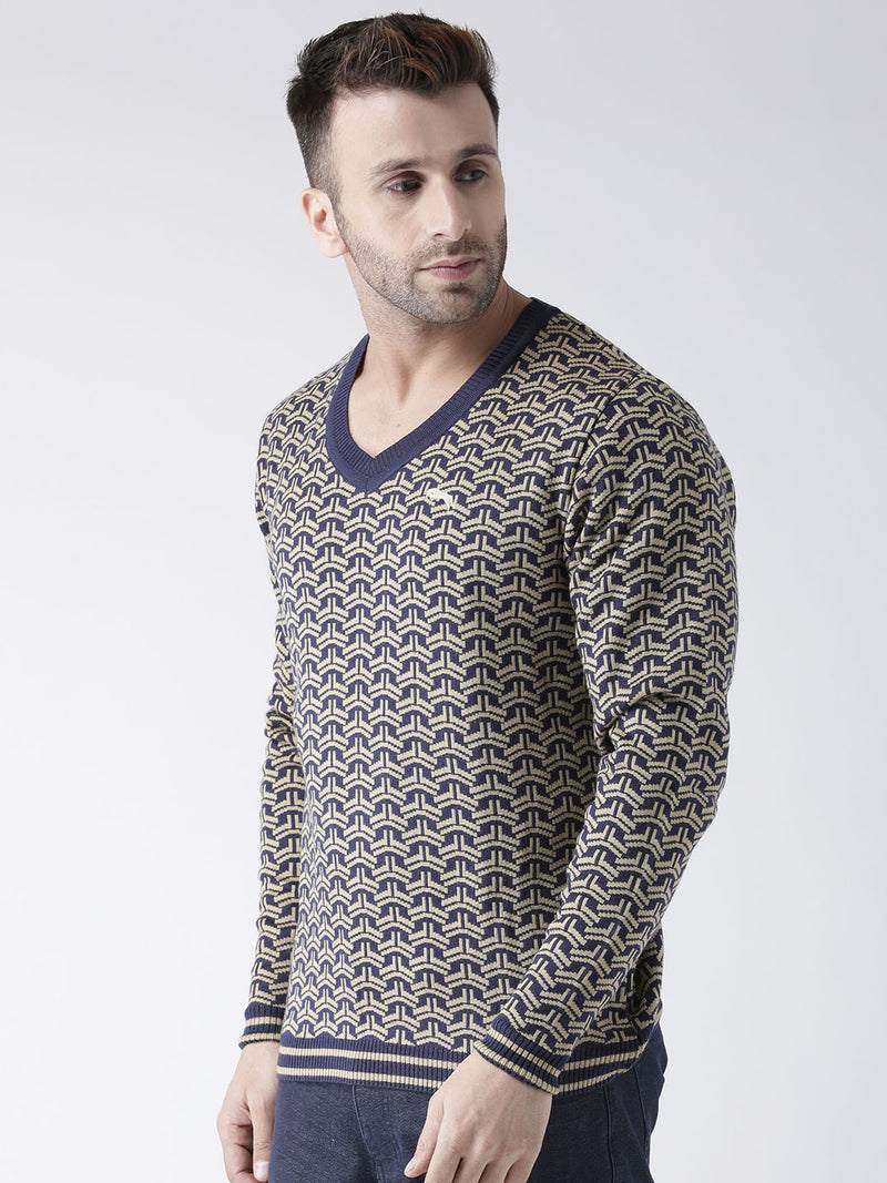 Men Navy Blue and Beige Colourblocked Pullover