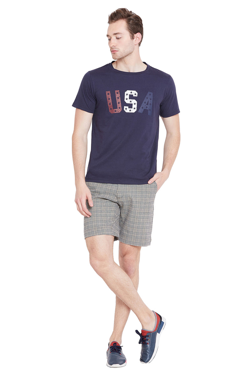 Men Grey Checked Casual Shorts - JUMP USA