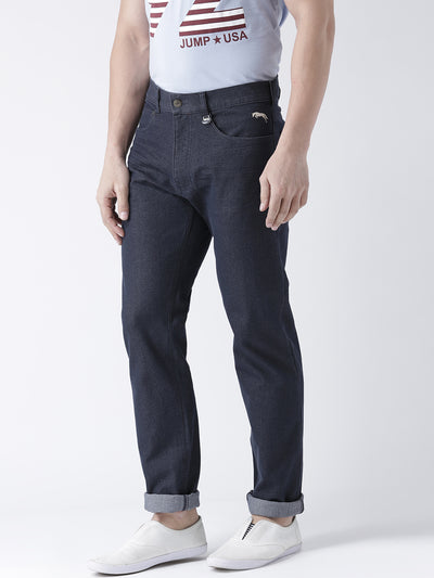Men Navy Blue Slim Fit Mid-Rise Clean Look Jeans - JUMP USA
