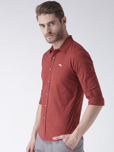 Men Red Solid Cotton Regular Fit Shirt - JUMP USA