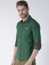 Men Green Slim Fit Solid Casual Shirt - JUMP USA