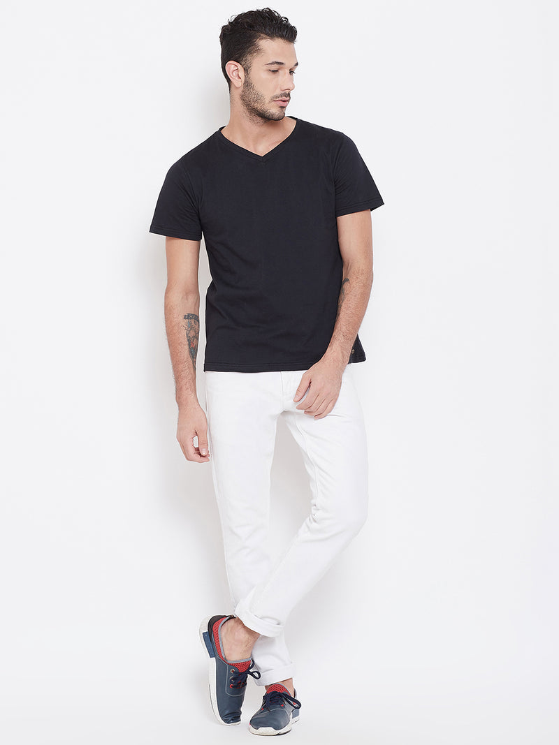 Men Black Solid V Neck T-shirt