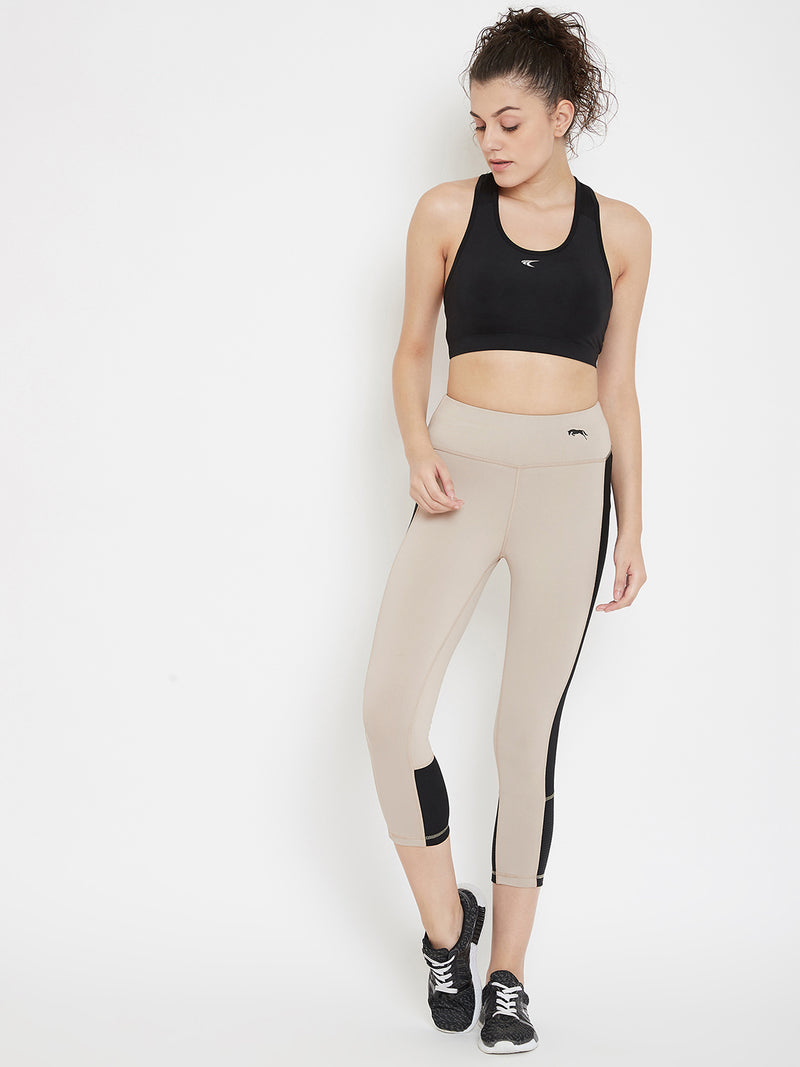 JUMP USA Women Beige & Black Active Wear Tights
