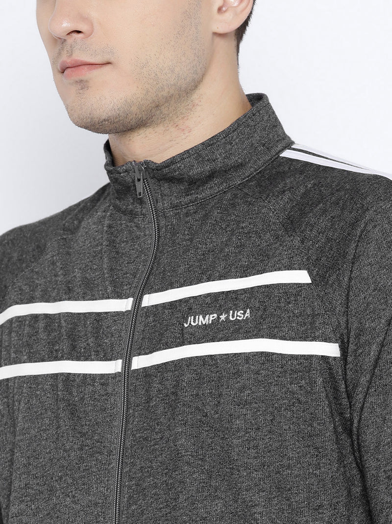Grey Melange Solid Sweatshirt - JUMP USA