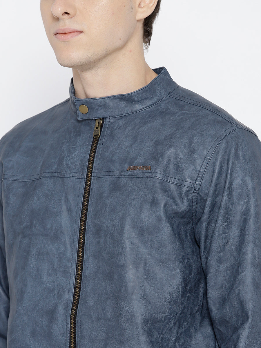 Men Blue Solid Jacket