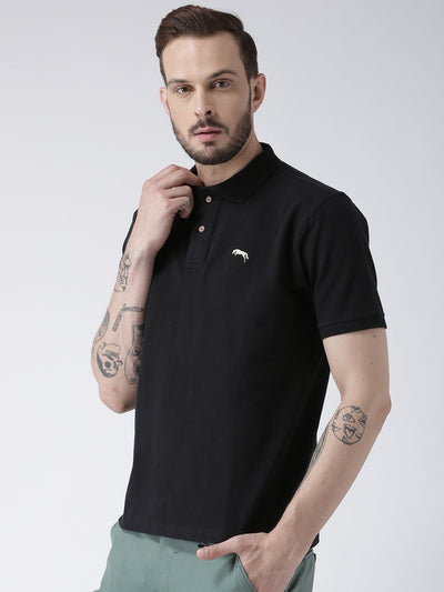 Men Black Solid Polo T-shirt - JUMP USA