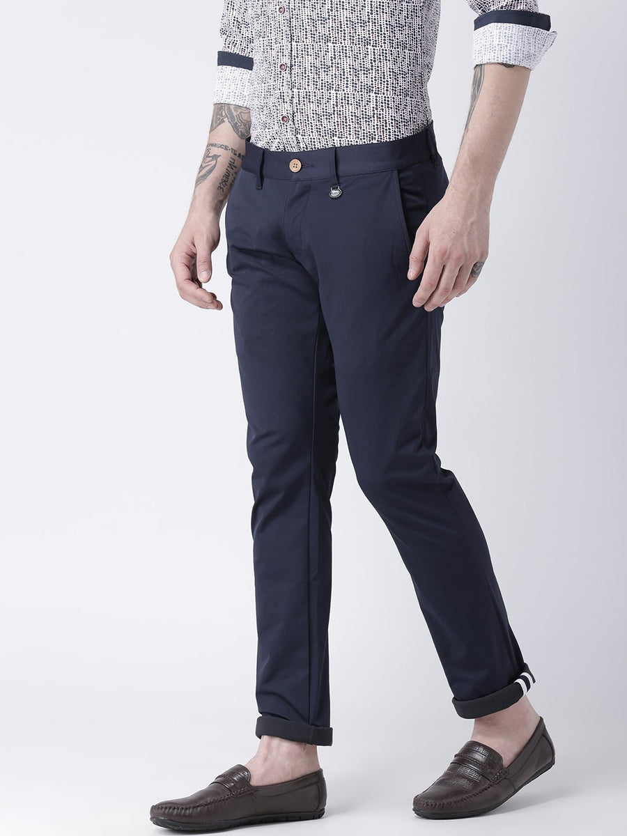 JUMP USA Men Navy Blue Slim Fit Solid Chinos - Jump USA