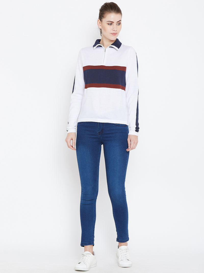Womens Colourblock White/Ec Navy Sweaters