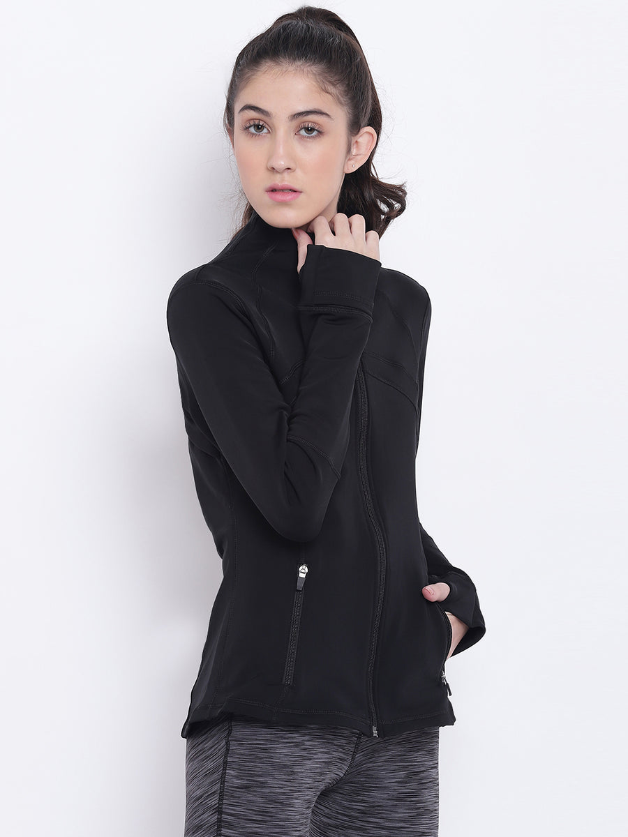Women Black Sports Sporty Jacket