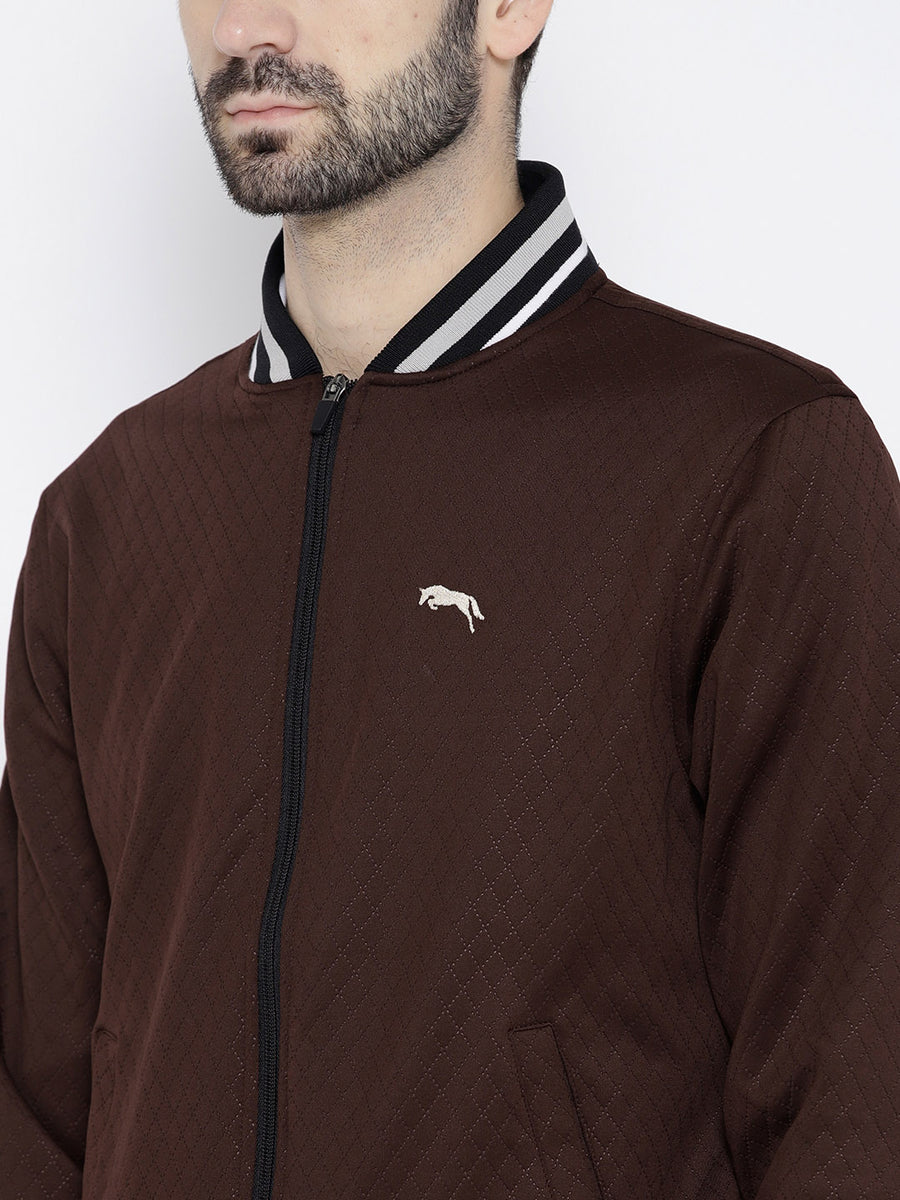 Men Maroon self Design Jacket