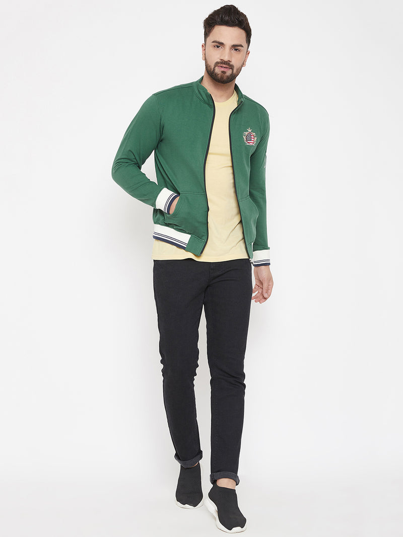 JUMP USA Men Green Solid Bomber Jacket