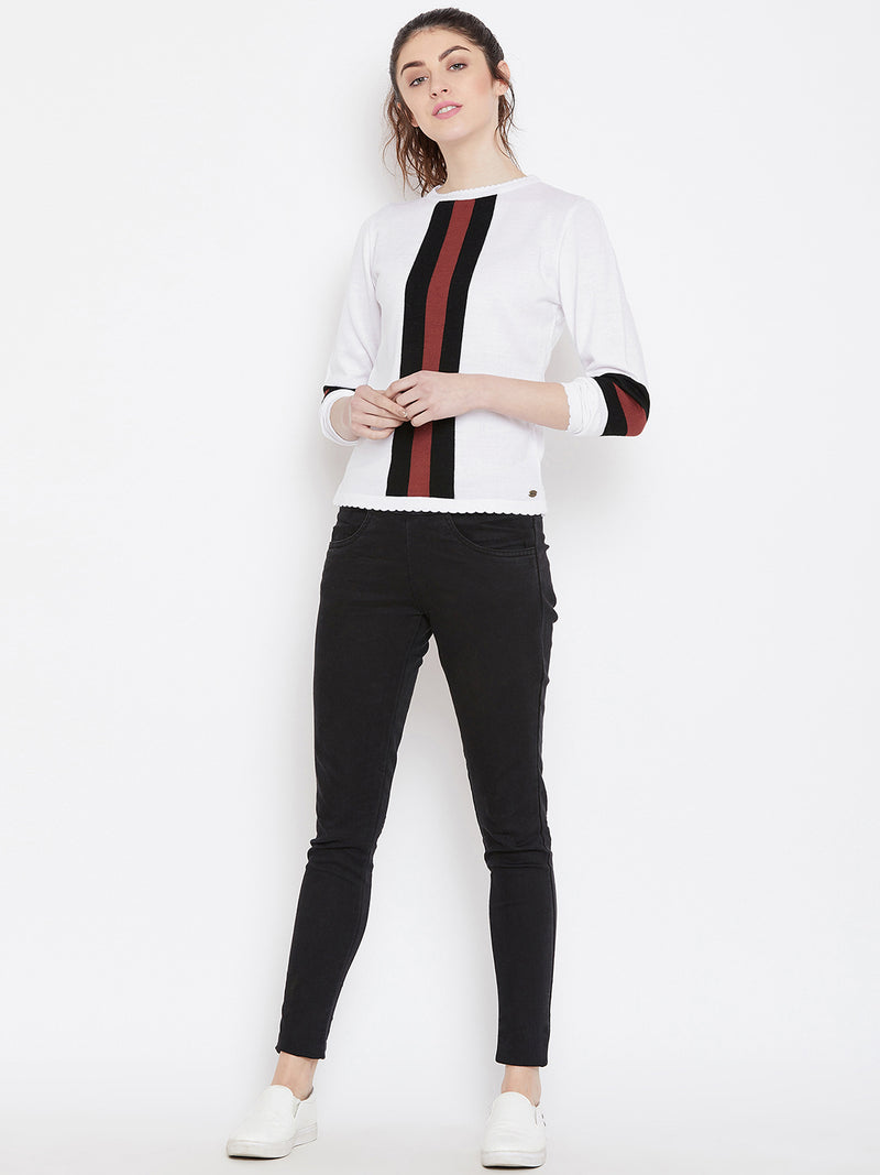 Womens Solid White/Black Sweaters
