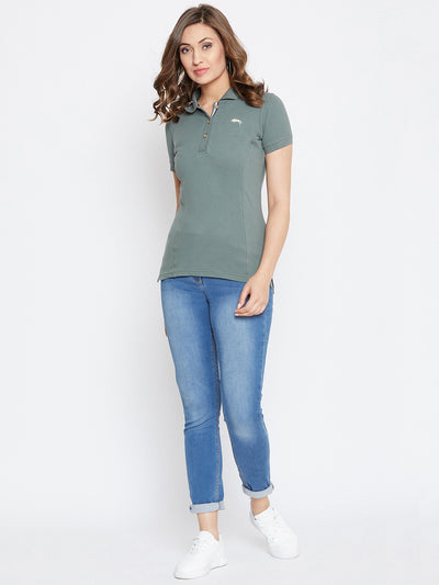 Women Grey Solid Polo Neck T-shirt - JUMP USA