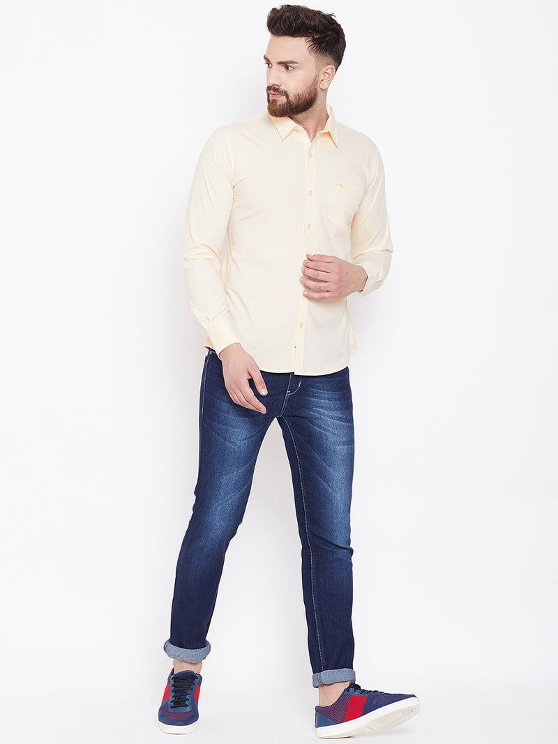 JUMP USA Men Cream Solid Slim Fit Casual Shirts