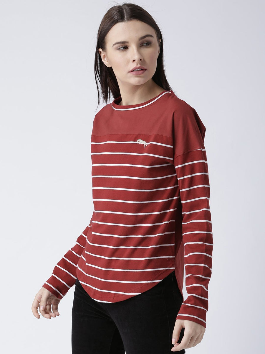 Women Round Neck Red T-shirt