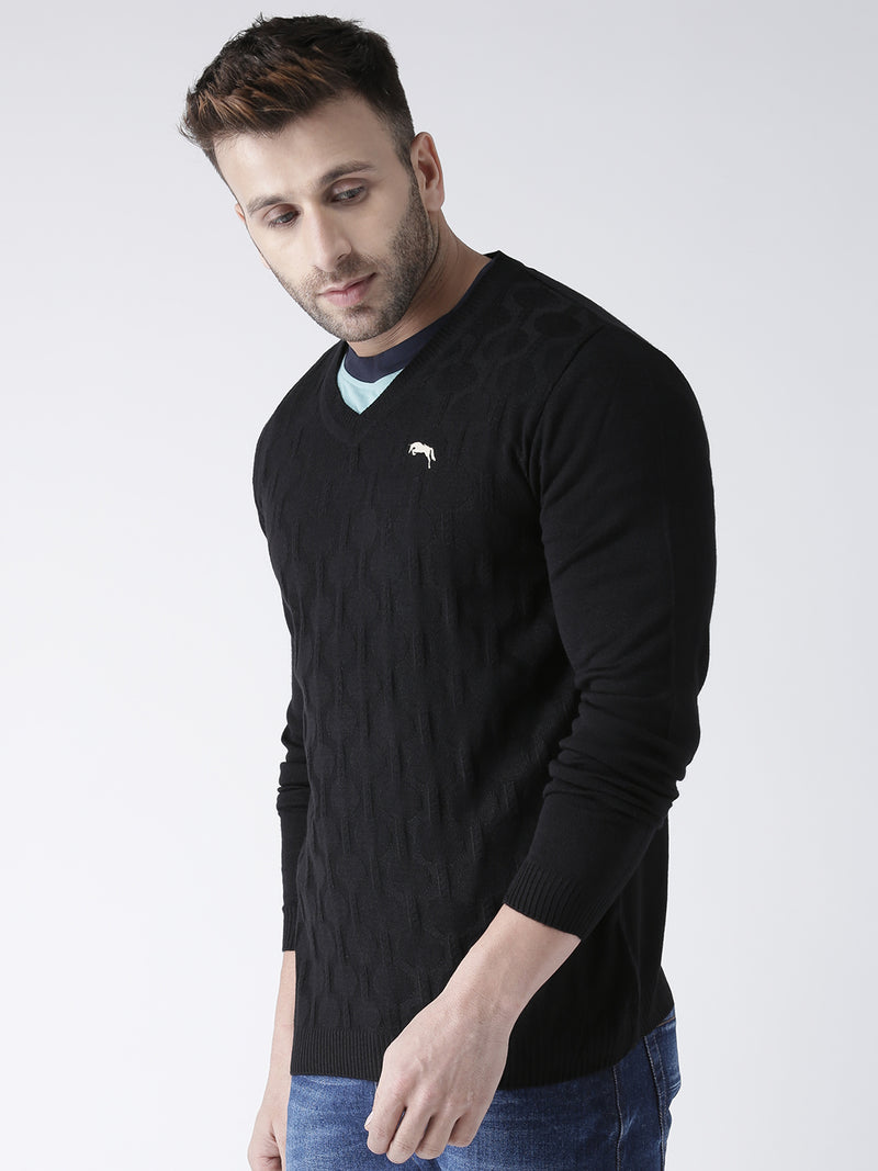 Men Black self Design Pullover