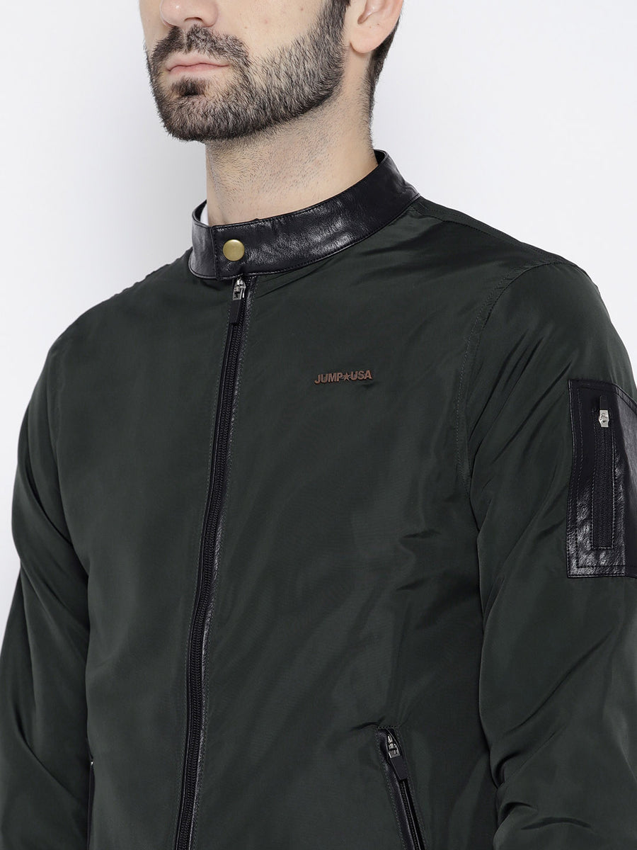 Men Green Solid Open Front Jacket