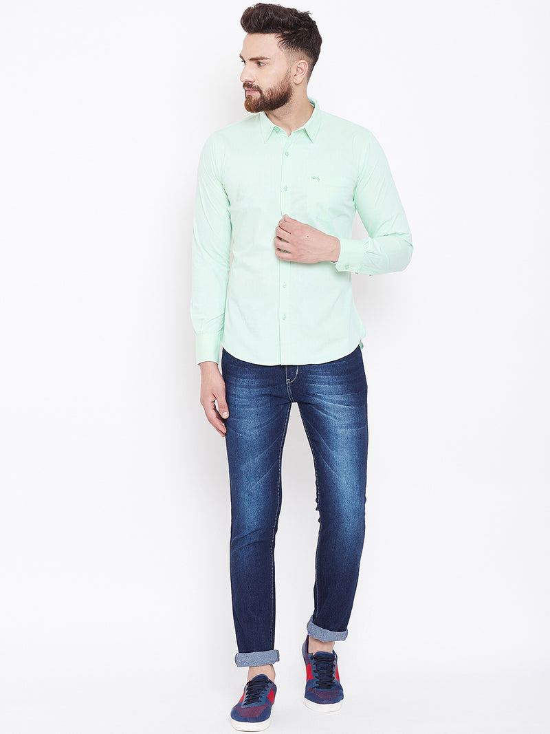 JUMP USA Men Green Solid Slim Fit Casual Shirts