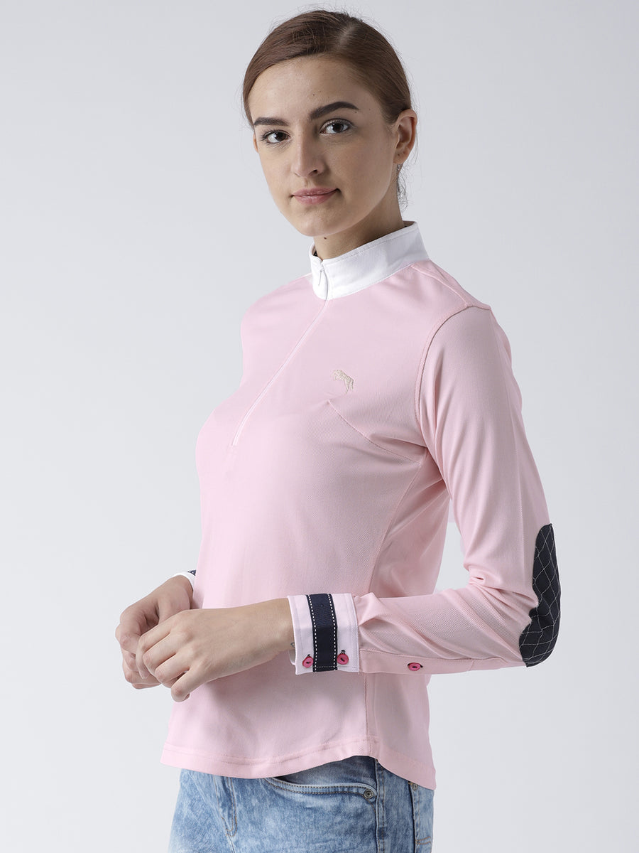 Women Solid Pink Polo T-Shirt