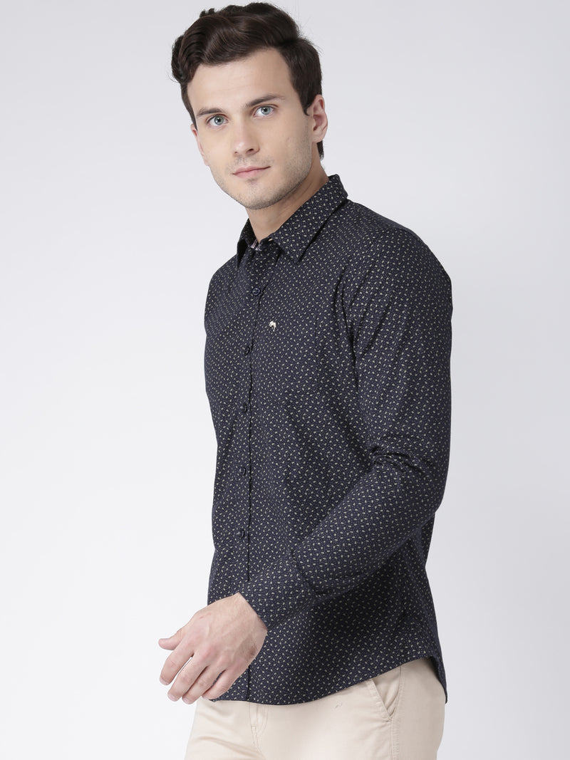 Men Casual Printed Navy Blue Shirts