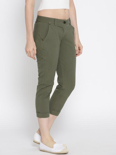 Women Solid Cropped Chinos